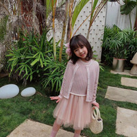 Новая весна осень ребёнки свитер костюмы милые детские розовые с длинными рукавами свитер с платье 2 шт / комплект младенца Девочки Нижнее