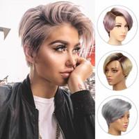 Rebecca Short Hight Capelli di pizzo Parrucca Parrucca Parrucca Parrucca anteriore Parrucche per capelli umani per le donne Peruviano Remy Hair Ombre Pink Bion Blond Fashion Wigs Plus