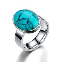 moda turquesa Anel de prata com diamantes de ouro anéis de aço mulheres mens banda de anel de dom inoxidável jóias da moda vai e areia nova