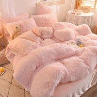 Mink Velvet Literie Ensemble de lit en peluche Ensemble de lit d'hiver épais Couverture de couette épaisse Couleur Solide Couleur Draps et taies d'oreiller pour les glaîmes de lit doux de la maison1