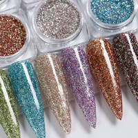 6 Farben / Set Holographic Diamant-Glanz Nagel-Funkeln-Nagel-Dip Pulver Chrome Pigment Staub-Kunst-Dekorationen Maniküre Design AB