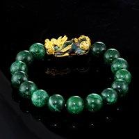 Steinperlen Armband Männer Frauen Unisex Chinesische Feng Shui Pi Xiu Obsidian Armband Gold Reichtum Viel Glück Pixiu Frauen Armbänder