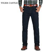 Тигр замок мужская высокая талия джинсы хлопчатобумажные толстые классические растягивающие джинсы черный синий мужской джинсовые брюки весна осень мужчин комбинезон 201123