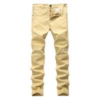 카키색 바이커 청바지 Pleated Design Mens Skinny Slim Stretch Denim Pants 새로운 도착 힙합 스트리트 찢어진 청바지