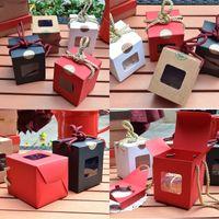 Креативный дизайн Kraft Paper подарочная коробка с четким окном медовое джем чай коричневый сахар коробки конфеты веревка 248 J2