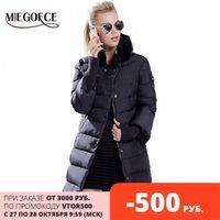 Miegofce Kış Ördek Aşağı Ceket Kadınlar Uzun Coat Sıcak Parkas Kalın Kadın Sıcak Giysiler Tavşan Kürk Yaka Yüksek Kalite 201029