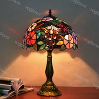 Lampada da tavolo Dia 30 cm europeo retrò vetro colorato in lega di alluminio Garden uve 110V 220 V E27 per soggiorno camera da letto camera da letto bar DHL