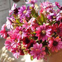 الحرير الأوروبي ديزي أقحوان الاصطناعي زهرة فلوريس باقة للديكور المنزل الزهور الاصطناعية للديكور