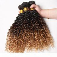 Kinky Curly Brasilianer 1b 4 27 Honig blonde Ombre Menschliches Haar 3bundles mit Schließung Schwarz Braun Honig Blondine Drei Ton 4x4 Spitzeverschluss