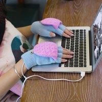 Yün Sıcak Eldiven Usb Isıtma Eldiven El Isıtıcılar Kış Sıcak Eldivenler El Laptop Yarım Parmaksız Elektrikli Isıtma Eldiven