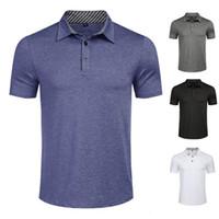 HOT HOMME POLO T-shirts coton manches courtes Sports Golf masculin Bodybuilding Street Wear Casual Solide Mens Vêtements Taille des États-Unis