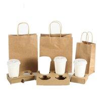 Tek Kullanımlık Kraft Kağıt Kahve Fincanı Tutucu Kolu Çantası Ile Seti Paket Servis Süt Çay Suyu Ambalaj Araçları Away Içecekler Kupası