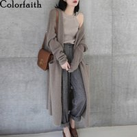 Colorfaith New 2020 Autumn Winter Women's Sweaters Korean Style Fashionable Minimalist Solid Color Casual Long Cardigans SWC8133 Q1114