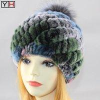 Mütze / Schädelkappen echte gestrickte Rex Pelz Hüte Frauen Echt Rur Hut Match Silber Ball Qualität100% Natürlich