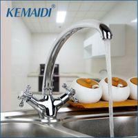 Kemaidi ru pulido cromo latón cocina grifo doble mango caliente y frío mezclador de agua grifo tapete montado torneira cozinha t200424