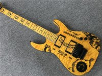 Factory Custom Yellow Electric Guitar with Moon Pattern, Blac...