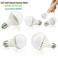 E27 LED 전구 소리 음성 센서 램프 3W 5W 7W 9W 12W 야드 야간 조명
