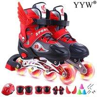2020 Mädchen Kinder Kinder Rollschuhe Skating Schuhe Sliding Inline-Turnschuhe 4Wheels 1 Row Linie Outdoor Training Gym Blau Rosa