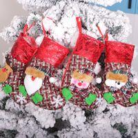 Быстрая доставка горячей продажи 2020 Малый Рождественский чулок мешок подарка украшения рождественской елки Подвеска плед Рождественский чулок сумка F4902