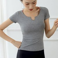 Women Slim Yoga Shirts Solid Short Sleeve Sport T-shirt Quick Dry Running Sportwear Bandage Girl Fitness Tops Gym Workout Blouse