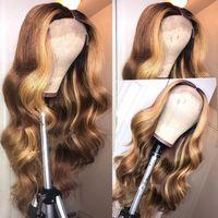 Выделите Блондинка 13x6 Кружева Фронтальная человеческих волос Pre-сорвала Бразилец Средний Ratio глубоководной части Silk Top Lace Волнистые волосы Remy парики