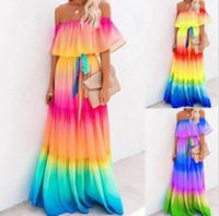 여성의 우아한 오프 숄더 여름 주름 비치 맥시 드레스 레인보우 내기 캐주얼 롱 드레스 전체 길이 S-2XL