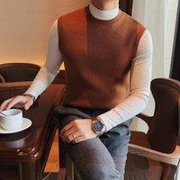 Estilo británico suéter de invierno chaleco hombres otoño nuevo O-cuello sin mangas hombres chalecos simples Todos los jerseys de punto de pareja 3xl