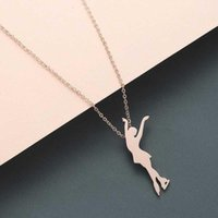 Collar de cadenas de oro para mujer bailando niña colgantes mejor amigo de acero inoxidable plata regalo mejor amigo ballet collares womens1