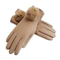 خمسة أصابع قفازات النساء في الهواء الطلق أنيق السيدات يندبروف لينة الحساسة بو الجلود سميكة الطقس الباردة القفازات الشتاء الدافئة اصطف الفش