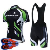 Merida Team Summer Men Cycling Jersey Bib Shorts Set MTB Abbigliamento Bike Manica Corta Traspirante Quick Dry Bicycle Sports Uniform 030929