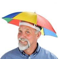 Wide Brim Hats Outdoor Umbrella Hat Novelty Foldable Sun Day Rainy Hands Free Rainbow Folding Waterproof Multicolor #T5P1