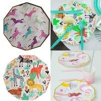 Bandeja de papel Unicornio Flamingo Sirena Muchas placas de estilo Vajilla Festival Festival Arreglo Artículos Pastel de plato Fábrica Venta directa 5 9PD P1