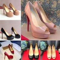 Senhora Clássica Vermelho Vermelho Alto Saltos Plataforma Sapata Bombas Nude / Preto Patente Couro Peep-Toe Mulheres Vestido Sandálias De Casamento Sandálias Tênis 34-45