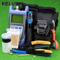 Kelushi 18pcs / set FTTH Herramienta Kit con SKL-6C CLEAVER FIBER METER POTENCIA ÓPTICA 1MW Localizador de fallas visual Stripper de fibra óptica1