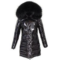 MAOMAOKONG зима длинная белая утка вниз подкладка реальный енот меховой воротник теплого черный блестящий пиджак дамы уличной 201028