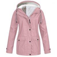 Plus size mulheres jaqueta casaco de lã chuva de chuva outono inverno quente chuva casaco à prova d 'água à prova de vento de acampamento com capuz não descartável1