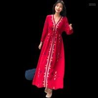 Robe décontractée Robe d'été Vestidos Coréen OLN Coton et Mousseline de mousseline De Grande Mer Seaside Beach Bohemian Longue for Femme Femmes1