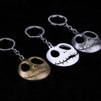 만화 해골 열쇠 고리 열쇠 고리 패션 할로윈 악마 두개골 머리 키 체인 골드 실버 금속 열쇠 고리 크리스마스 선물 펜던트 AAD2609