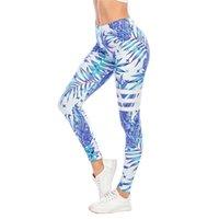 Zohra mulheres sexy legging luz azul folhas de impressão fitness leggins moda mujer pantalones high cintura leggings mulher calças de mulher 201203