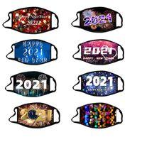 US Stock 2021 Happy New Year Designer Adultes Masques Enfants Party Chrismas Lavable Reuseable Visage Masque Protection Imprimé numérique Masques coton