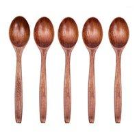 Colher de pau de mesa de madeira tigela de mingau chinês bambu arroz colher japonês cozinha utensílios de mesa1