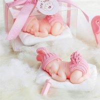 Inne Świąteczne Dostawy DIY Sleeping Baby Candle Blue / Pink 3D Dekoracja Sto Dni Wedding Cake Świece Urodziny