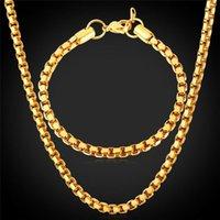 2pcs Jewelry Sets 16-30Inch Long Link Chain Hip Hop Bracelet Necklace Set Gold Color 925 Silver Men Punk Necklaces Bracelet Set