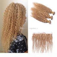 Медовые блондинки бразильские волосы с закрытием # 27 клубника блондинка странные кудрявые человеческие волосы 3 пакета с ухом для уха полные кружевные фронтальные