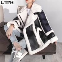 LTIPH di alta qualità coreano allentato lambswool in pelle fottuta cappotto di pelliccia sintetica addensare caldo moda alty-match casual giacca corta inverno nuovo 201209