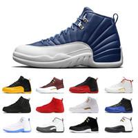 Recién llegados 12 12s zapatos de baloncesto piedra azul gripe juego universidad oro azul oscuro gris zapatillas deportivas zapatillas de deporte 7-13