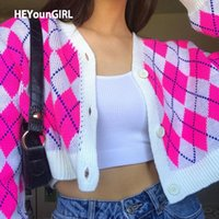 Heyoungirl rosa y2k argyle sweater cardigan mulheres suor casual malha jumper quente 90s manga comprida Cardigan top outono y200915
