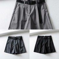 Elegante estilo mujer sólido suelto traje pantalones cortos de verano mujer alta cintura preppy srtle mujeres verano sólido shorts con fajas de cintura y1217