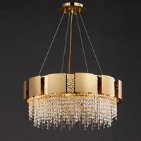 Lámpara de araña moderna redonda para la sala de estar de oro Decoración del hogar CRISTAL LED Lámparas Colgante Lámparas Comedor Dormitorio Luz de cristal Luminaria