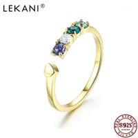 Anillos de racimo Lekani Crystal de S925 Anillo de plata esterlina Apertura de moda Joyería fina ajustable para mujeres1